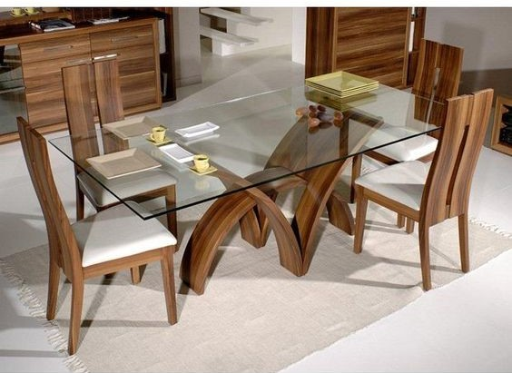 Glass Table with wooden chair