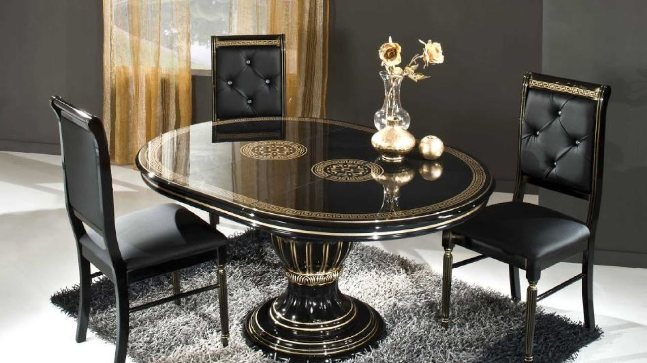 Black Glass Dinner table with black chair