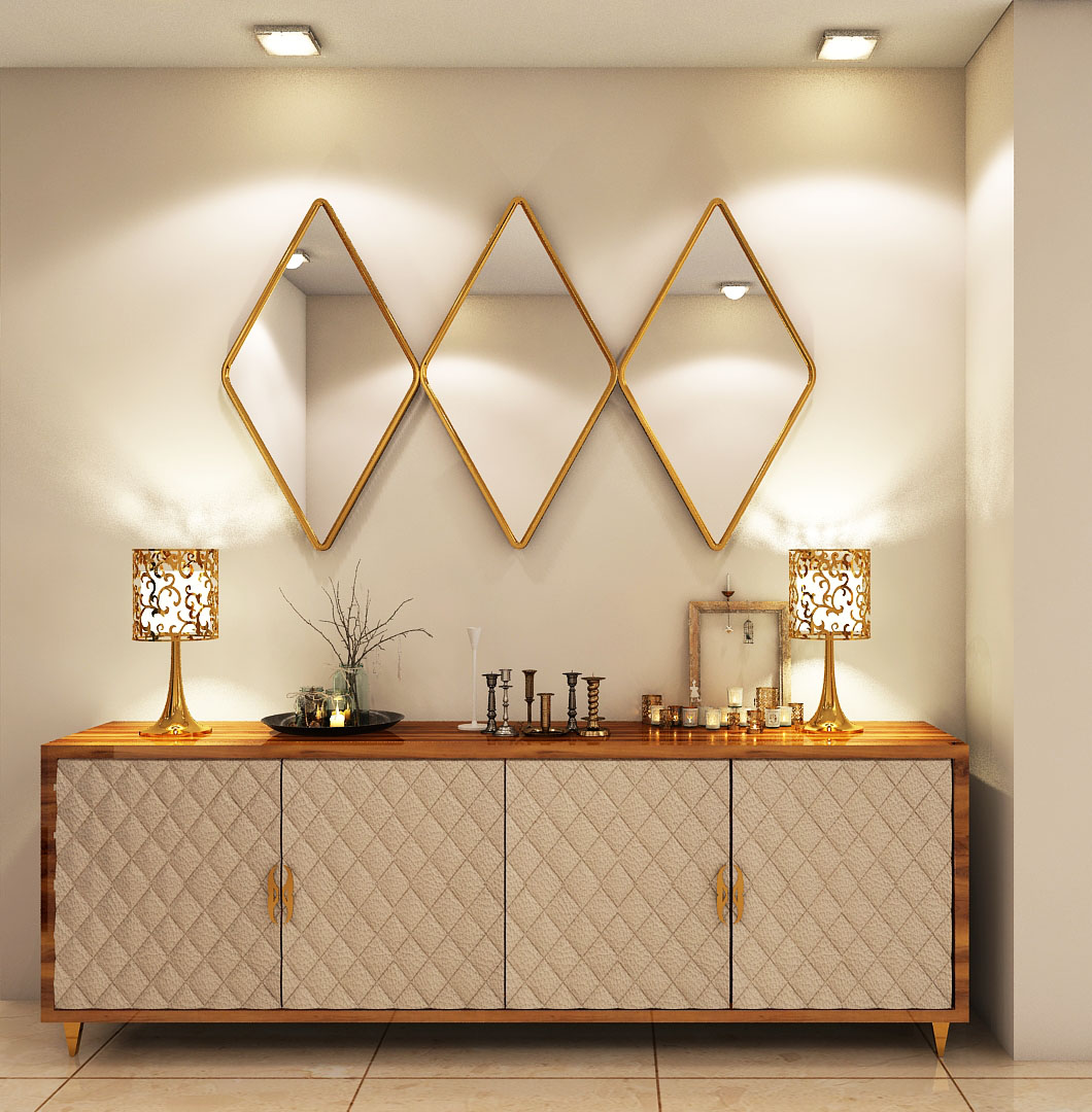 stair case console with mirror